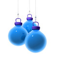 Blue christmas balls d render of three hanging on a transparent wire white background Royalty Free Stock Photos