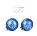 Blue christmas balls with silver ornament isolated on white background Stock Image