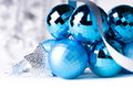 Blue Christmas baubles with silver decoration Stock Photography