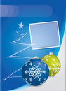 Blue Christmas card with Christmas balls Stock Image