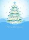 A blue christmas card with a christmas tree illustration of Royalty Free Stock Photography