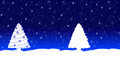 Blue christmas card with a fir tree sky full of stars or snowflakes and white in snowy land Stock Photos