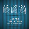 Blue christmas card with gifts Royalty Free Stock Photos