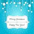 Blue christmas card holiday with decoration and label Stock Photo