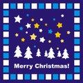 Blue Christmas card or invitation with mosaic Stock Photos