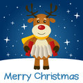 Blue christmas card reindeer merry with a cartoon playing the accordion with stars and snow on a background eps file available Royalty Free Stock Image