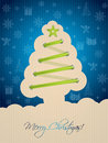 Blue christmas card with tree shoelace greeting green shaped Royalty Free Stock Photography