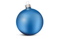 Blue christmas decoration ball isolated on a white background Royalty Free Stock Photos