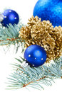 Blue Christmas decoration balls with golden cones Royalty Free Stock Photography