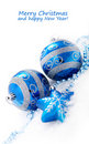 Blue christmas decoration baubles Royalty Free Stock Photography