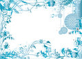 Blue Christmas Frame Pattern Vector Illustration Stock Image