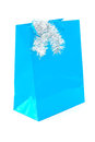 Blue Christmas gift bag on white Royalty Free Stock Photo