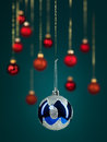 Blue christmas glittery ball Royalty Free Stock Photography