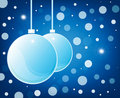 Blue christmas glossy balls on blue background Stock Image