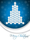 Blue christmas greeting card design with hexagon tree abstract Royalty Free Stock Images