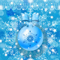 Blue Christmas greeting card with hanging glass ball Stock Photography