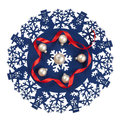 Blue christmas icon decorated with snowmen red ribbon and white baubles isolated circular snowflakes small balls Stock Photos
