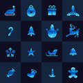 Blue christmas icon low poly vector set