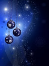 Blue christmas illustration with balls Stock Images