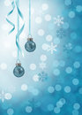 Blue christmas illustration in glitter ornaments with curled ribbons on a white bokeh background Royalty Free Stock Image