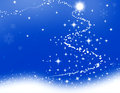 Blue christmas illustration wallpaper with a tree Stock Photos