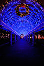 Blue Christmas Lights in Boston Stock Photography