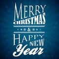 Blue christmas and new year card merry happy Royalty Free Stock Image