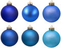 Blue christmas ornament collection. Royalty Free Stock Photo
