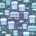Blue christmas pattern with houses and trees the bright winter seamless Royalty Free Stock Photography