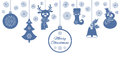 Blue Christmas pendants: a bell with holly, ball, fir-tree, snowflakes, a deer in scarf, snowman in a hat, stocking. Universal bor Royalty Free Stock Photo