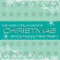 Blue christmas postcard card with snowflakes and white ornaments Royalty Free Stock Photos