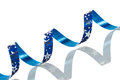 Blue Christmas ribbon on white background Royalty Free Stock Photo