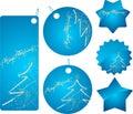 Blue christmas shopping badges Stock Photo