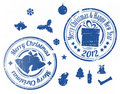 Blue Christmas  stamps Royalty Free Stock Photography