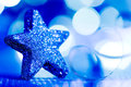 Blue Christmas Star And Glitter
