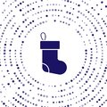 Blue Christmas stocking icon isolated on white background. Merry Christmas and Happy New Year. Abstract circle random Royalty Free Stock Photo