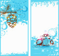 Blue christmas vertical banners vector with gifts Royalty Free Stock Image