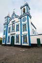 Blue church on terceira catholic praia da vittoria Royalty Free Stock Photos