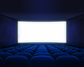 Blue cinema empty hall with blank screen for movie presentation Royalty Free Stock Photos