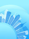 Blue circle city with office buildings Royalty Free Stock Image