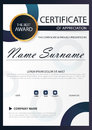 Blue circle Elegance vertical certificate with Vector illustration ,white frame certificate template with clean and modern pattern Royalty Free Stock Photo