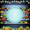 Blue circle frame on silver christmas background with golden stars and presents Royalty Free Stock Photo