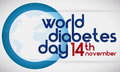 Blue Circle, Globe and Reminder Date of World Diabetes Day, Vector Illustration