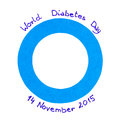 Blue circle of paper on white background, symbol of world diabetes day Royalty Free Stock Photo