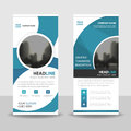 Blue Circle roll up business brochure flyer banner design , cover presentation abstract geometric background, modern publication Royalty Free Stock Photo