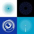 Blue circle signal waves. Generate sound or radar vector radio signals Royalty Free Stock Photo