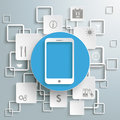 Blue circle smartphone white rectangles infographic piad with on the grey background eps file Stock Images