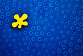 Blue circles background and irregular yellow shape Stock Photos
