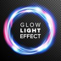 Blue Circles Glow Light Effect Vector. Swirl Trail Effect. Energy Ray Streaks. Abstract Lens Flares. Design Element For