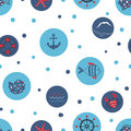 Blue circles vector background. Sea seamless pattern. Royalty Free Stock Photo